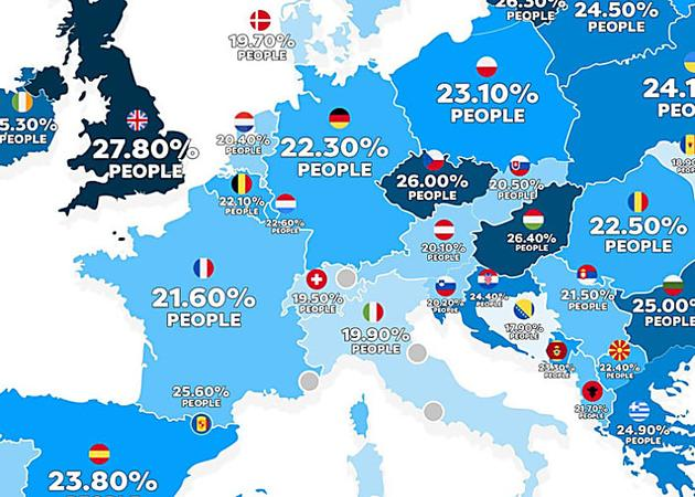 Obesity in America vs. Europe: Two maps explain it all