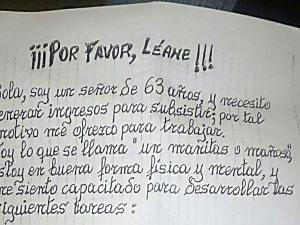 Esta es la conmovedora carta de Antonio, un hombre de 63 años que busca trabajo