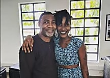 Ebony strikes a pleasant pose with Dr Lawrence Tetteh
